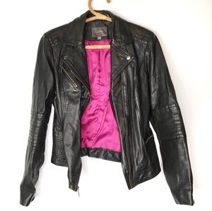 Cole Haan | Black leather motorcycle jacket | M